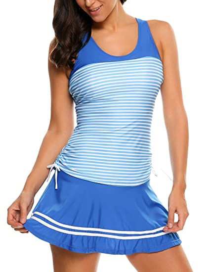 4dfd25b878851 Goldenfox Women Swimwear Girls Striped Tankini Swim Dress Swimsuit Bathing  Suit (Blue,XX-