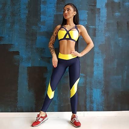 Huoduoduo Mujer Conjuntos De Yoga Sujetador Deportivo Y Polainas Ropa  Deportiva Femenina para Correr Jogging Ropa 5b42c6ffcedb