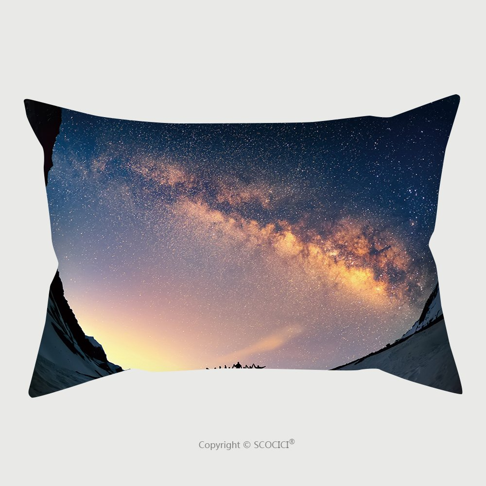 Custom Satin Pillowcase Protector Teamwork And Support. A Group Of People Are Standing Together Holding Hands Against The Milky Way In The Mountains_44421660 Pillow Case Covers Decorative