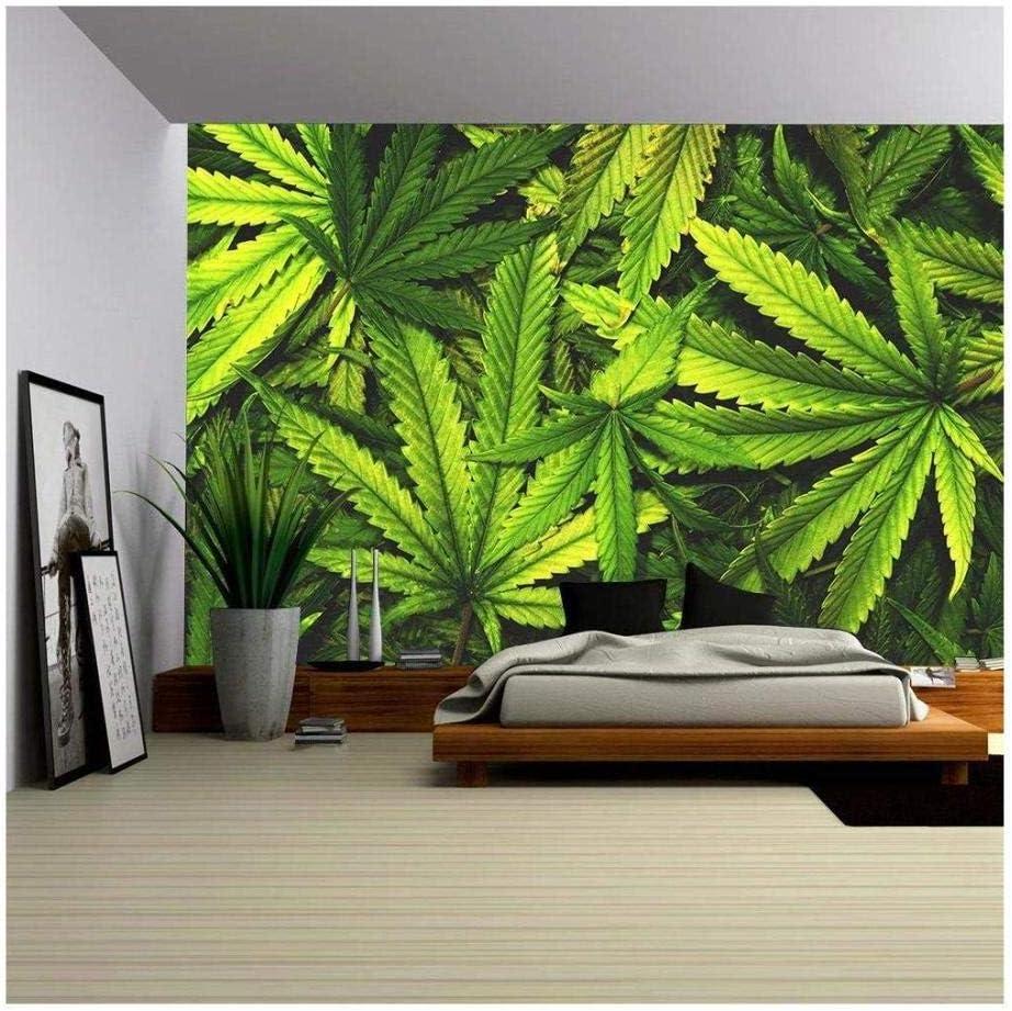Fotomurales Papel Pintado Tejido No Tejido Decoración De Pared Decorativos Murale Moderna De Diseno - Textura De Cannabis Pila De Hojas De Cannabis,300x210cm