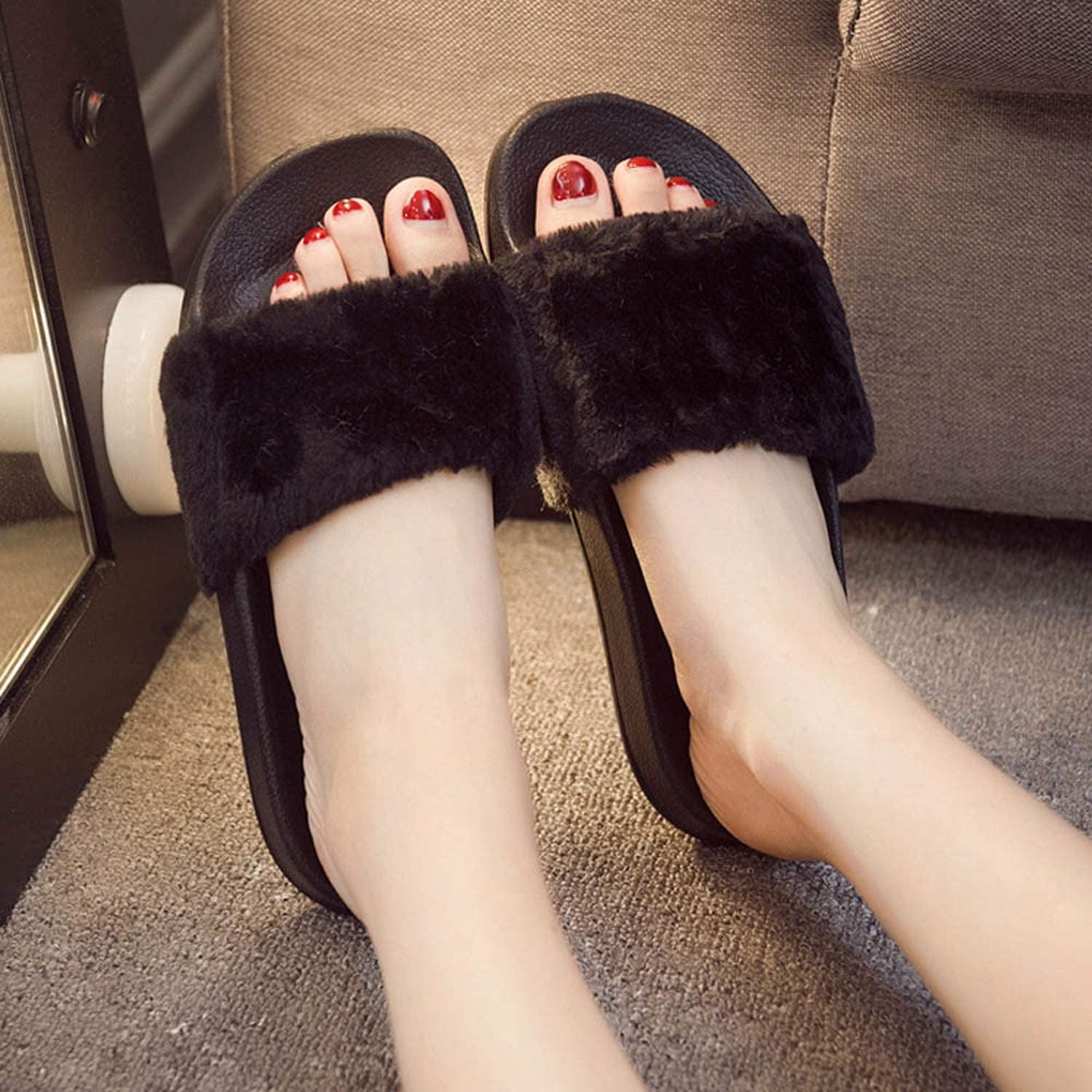 tomorrow-today Womens Slippers Zapatos Mujer Slip On Sliders Fluffy Faux Fur Flat Size