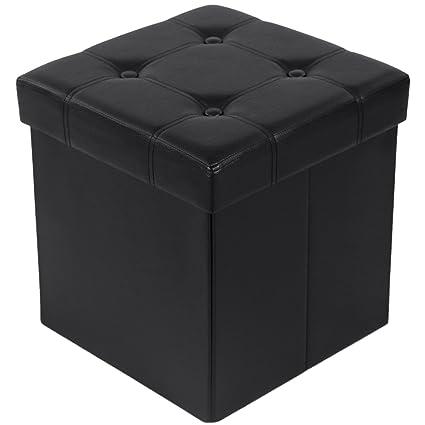 Songmics Tabouret Pouf Coffre Boite De Rangement Repose Pied Cube Siege Pliable Gagner De L Espace Noir 38 X 38 X 38 Cm Lsf30b