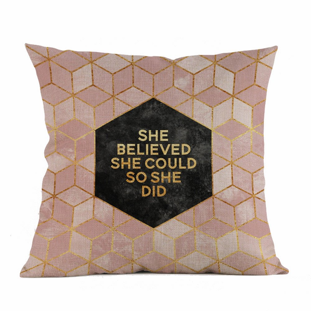 Weiliru Bedding Sofa Cotton Pillowcases-Linen Geometric Pillow Covers Standard Queen with Envelope Closure End