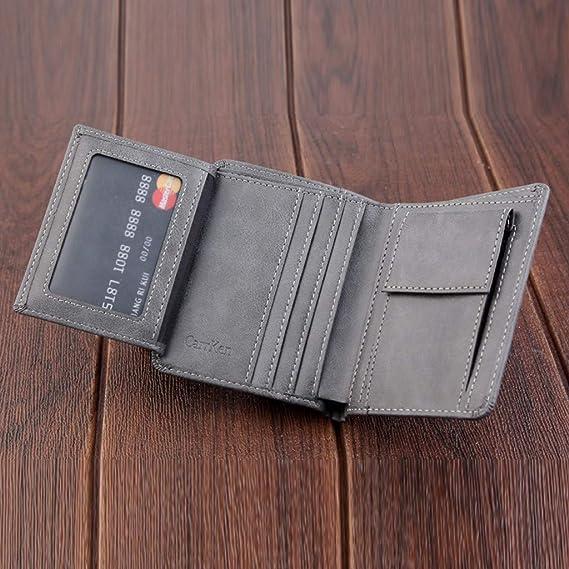Yvelands Monedero tríptico de la Tarjeta de crédito de la Cartera de crédito de los Hombres del Ocio Wallet Leisure Men(11.8X2.5X9.5cm,Café): Amazon.es: ...