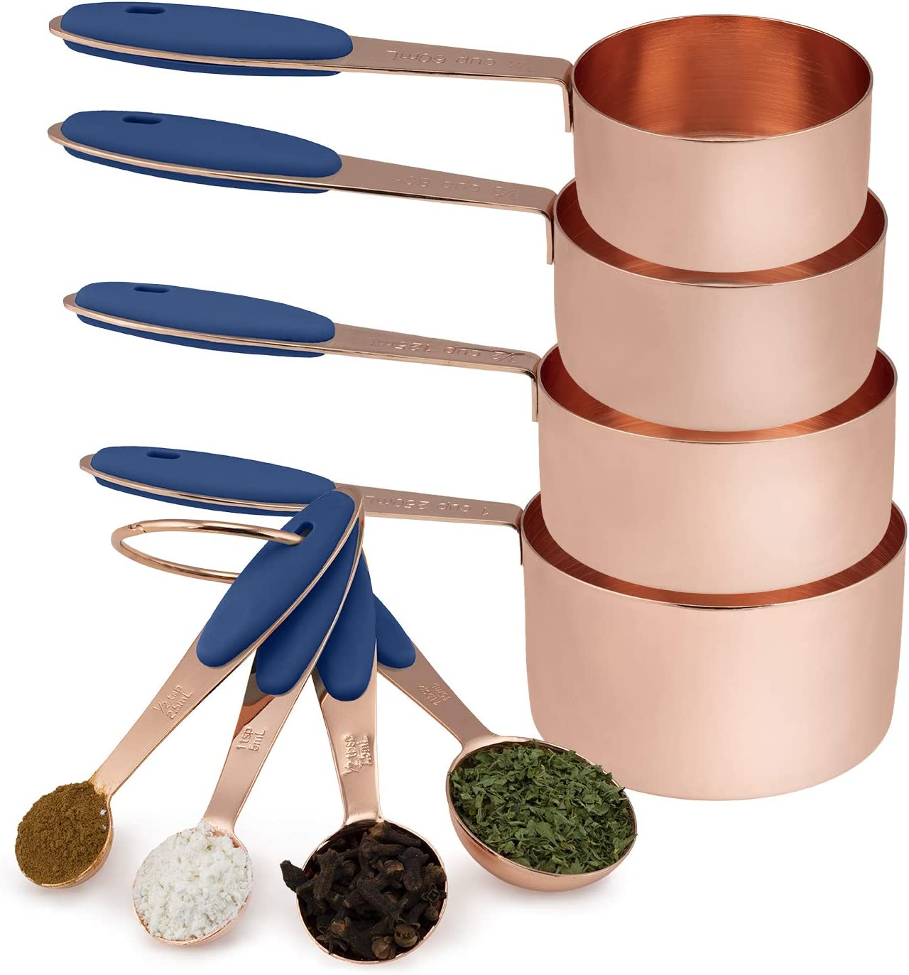 Cook with Color 8 Piece Copper Measuring Cups and Measuring Spoon Set Stainless Steel with Soft Touch Silicone Handles, Nesting Liquid Measuring Cup Set or Dry Measuring Cups Set (Navy)