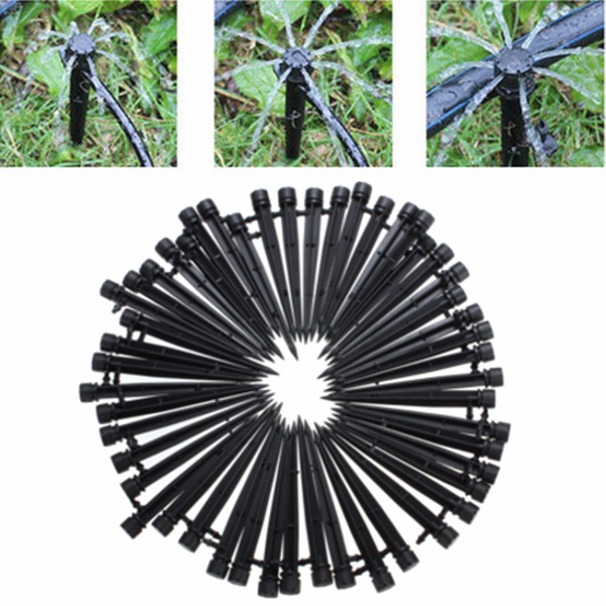 king do way 50Pcs Irrigation Drip Emitters for 4mm//7mm Tubing Adjustable 360 Degree Water Flow Drip Irrigation System for Plant Garden Watering 5 Inch