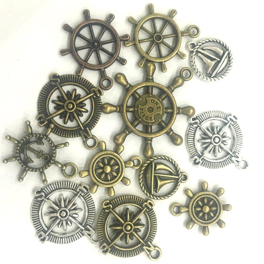 sseell 100/G Mixta Colgantes Charm ancla bronce dorado tim/ón plata creaci/ón de joyas DIY