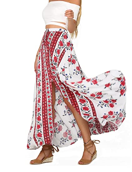 63b97fd83b Womens Boho Floral Tie Up Waist Summer Beach Wrap Cover Up Maxi Skirt White  at Amazon Women's Clothing store: