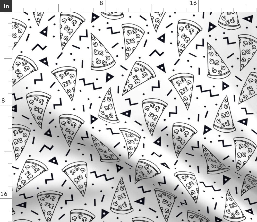 Spoonflower Fabric - Pizza Party Black White Shapes 90S Kids Triangles Food Triangle Printed on Petal Signature Cotton Fabric by The Yard - Sewing Quilting Apparel Crafts Decor