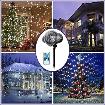 Labyrinen LED Christmas Projector Lights- Snowfall Light Waterproof Snow  Flurries Landscape Spotlight White Snowflakes with - Amazon.com: Labyrinen LED Christmas Projector Lights- Snowfall Light