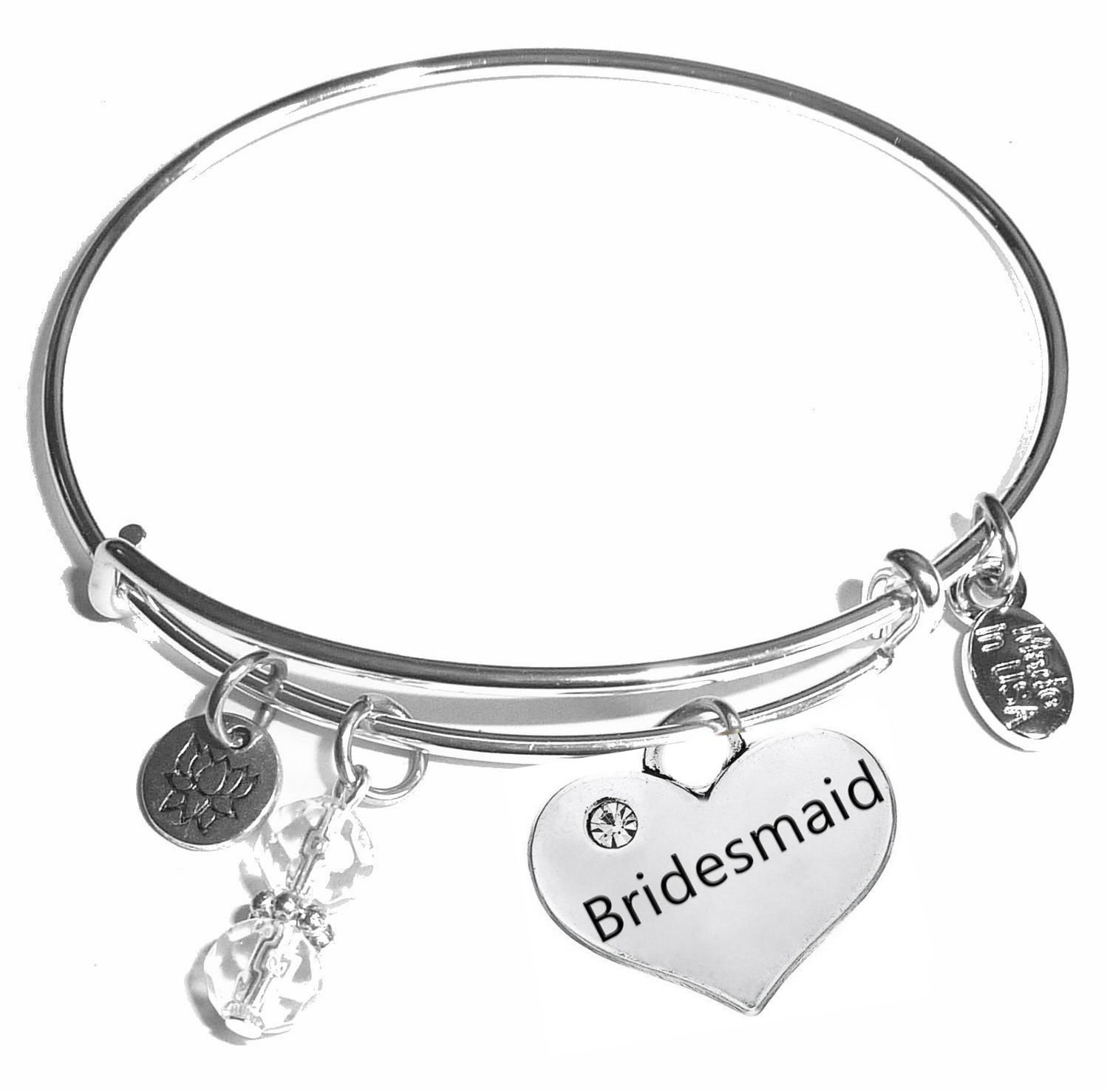 Message Charm (22 words to choose from) Expandable Wire Bangle Bracelet, in the popular style, COMES IN A GIFT BOX! (Bridesmaid)
