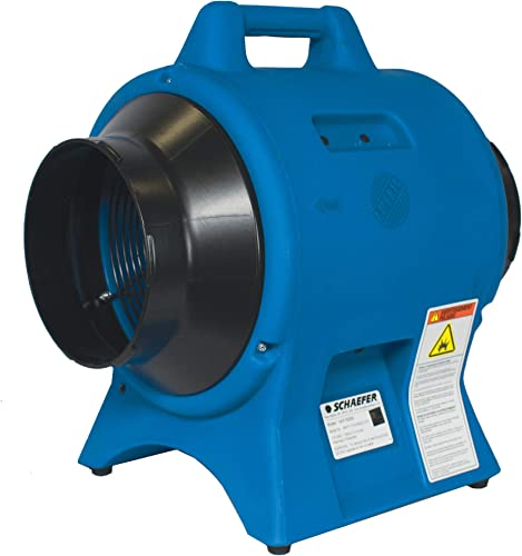 Schaefer VAF1500A 8 Americ Confined Space Portable Utility Ventilator, Industrial Made in USA, 1 4 HP, 877CFM, Blue