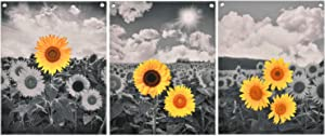 Set of 3 Sunflower Painting Wall Art Pastoral Scenery Poster Prints Nature Floral Wall Hanging Painting Print with 6 Nails for Room(16 x 20 inches)