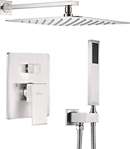 ESNBIA 10 Inches Shower System Brushed Nickel, Shower Faucet Set with Valve and Rain Shower Head Systems with Handheld Wall Mounted Shower Combo Set for Bathroom All Metal