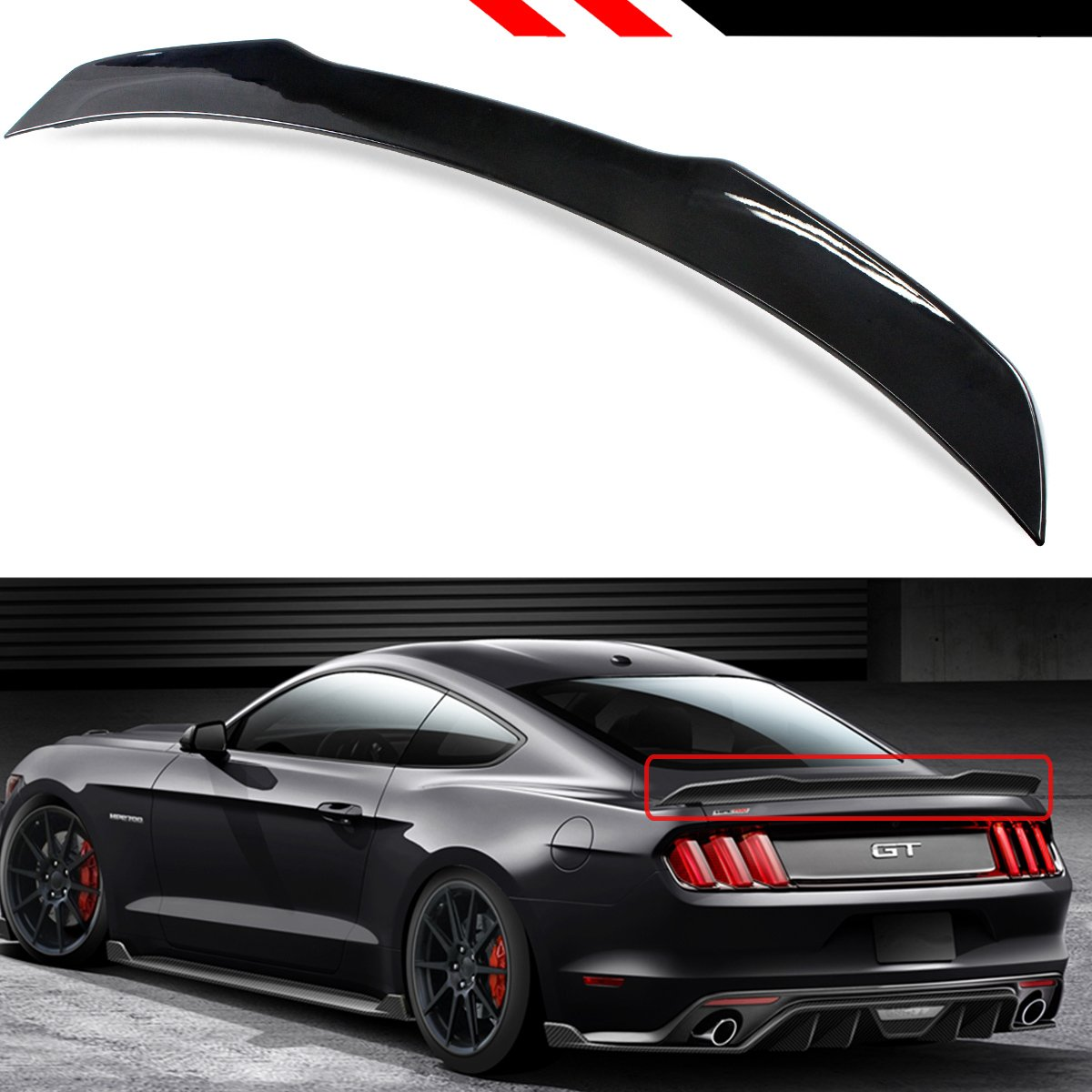 Amazon com cuztom tuning for 2015 2018 ford mustang gt ecoboost s550 h style painted glossy black rear trunk lid spoiler wing automotive