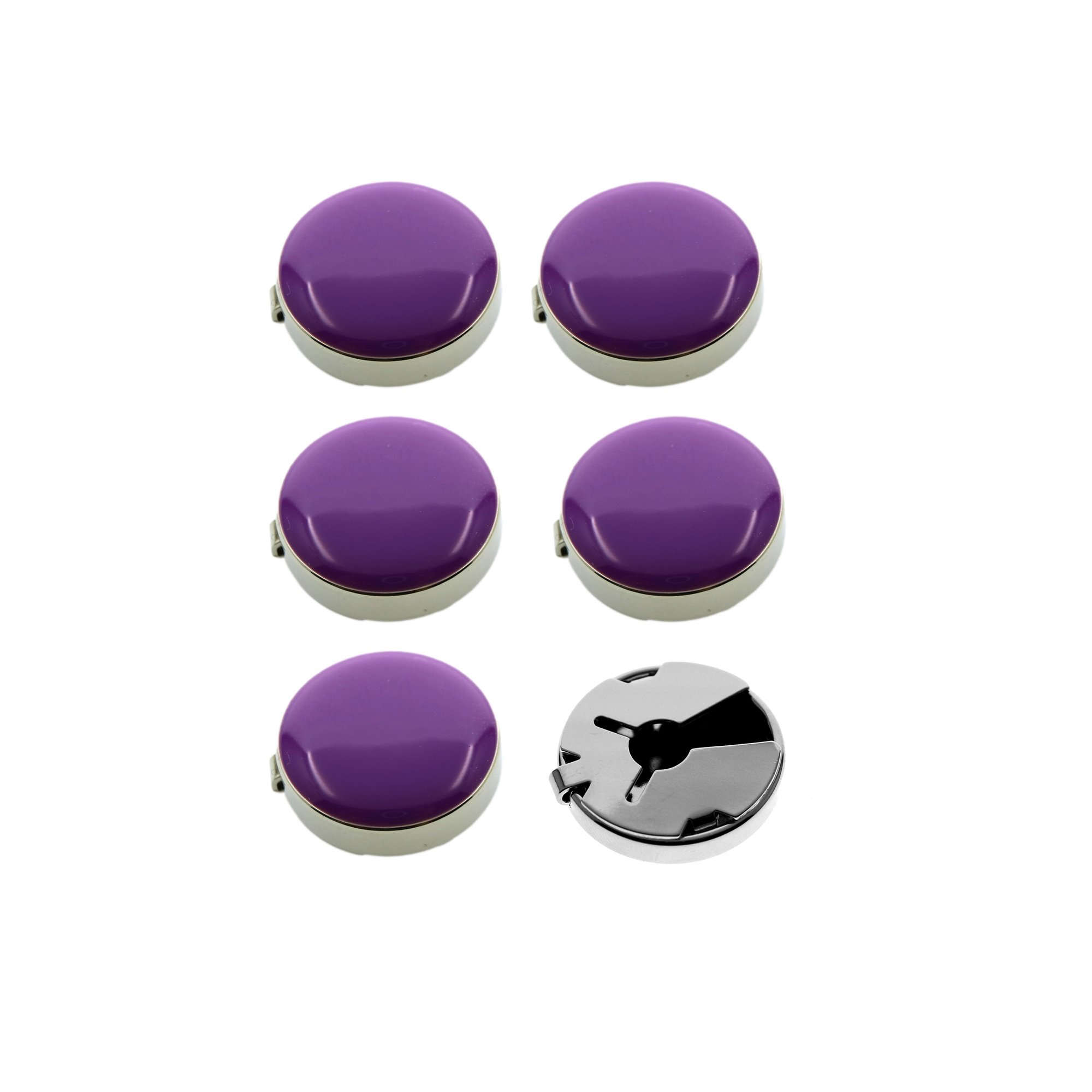 Ms.Iconic 17.5MM Purple Round Cuff Button Cover Cuff Links for Wedding Formal Shirt 6Pcs/Set (Purple)