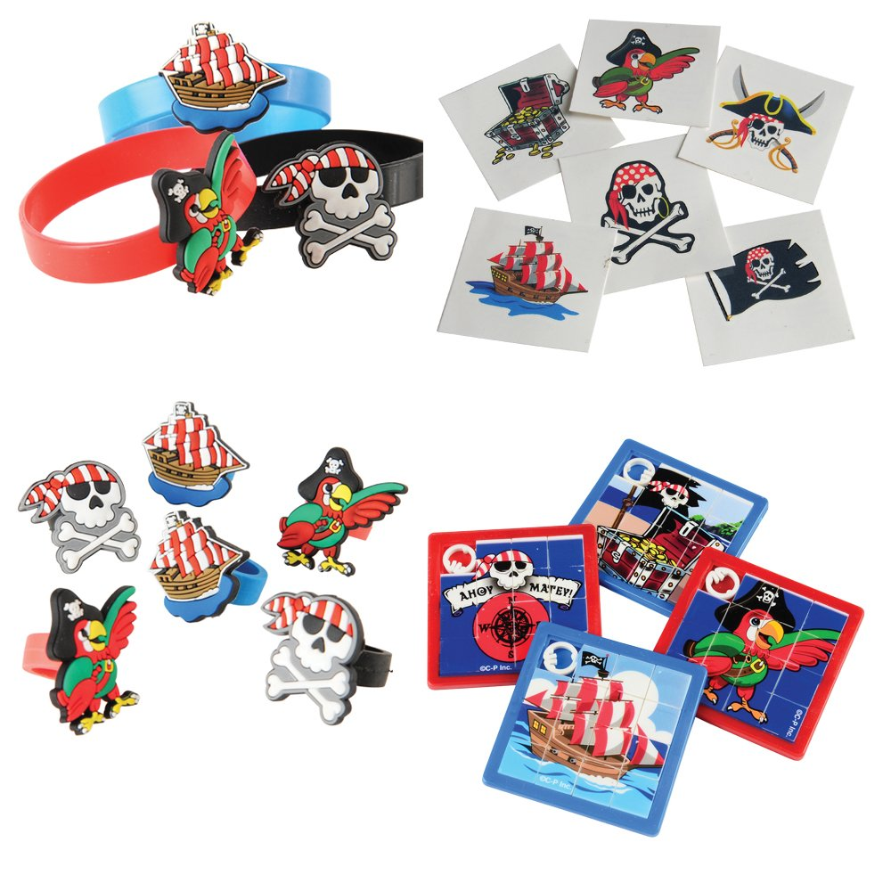 U.S. Toy Pirate Toy Party Favor Supplies 184 Piece Set for 12 Bundle Rings Bracelets Puzzles Tattoos