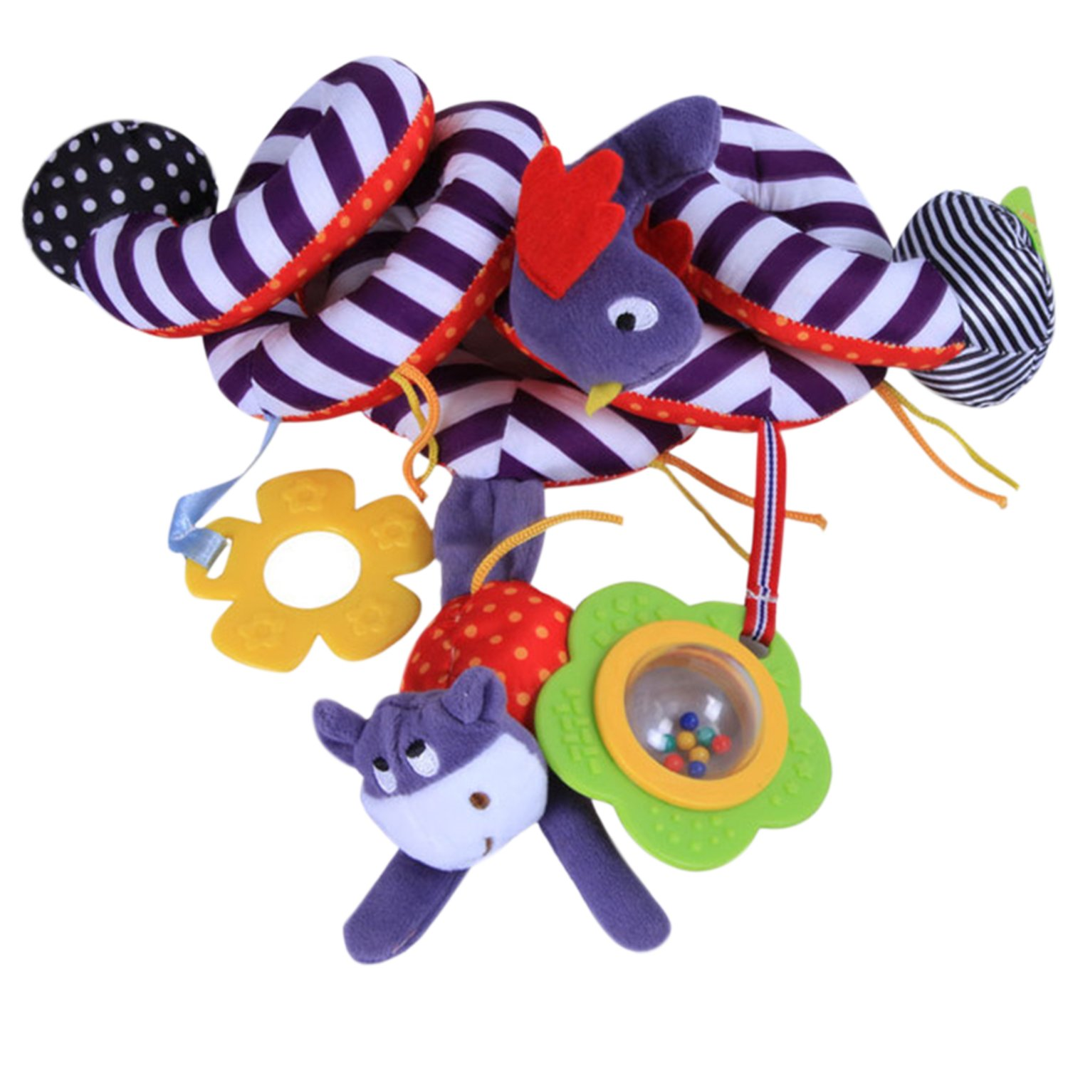 Colorful Hanging Spiral Toy Baby Children Twisty Curly Musical Cartoon Gift Toys Hanging on Pram Pushchairs Car Seat Cot De feuilles