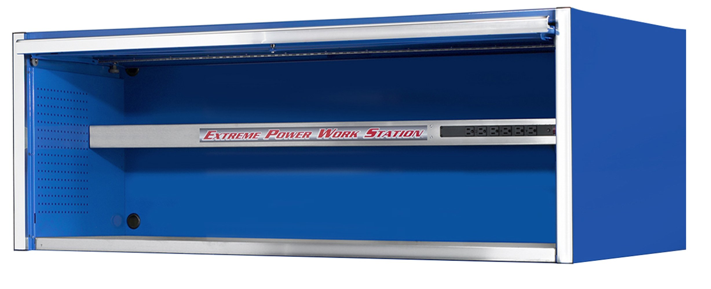 Extreme Tools EX7201HCBL Fully-Assembled Extreme Power Workstation Hutch with Roller Bearing Slides, 72-Inch, Blue High Gloss Powder Coat