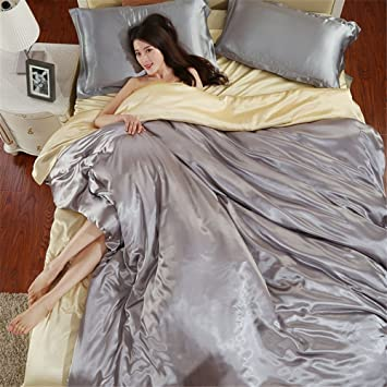 Glanz Satin Bettbezug Bettwäsche Set Mit 4 Teilig Doppel Farben In