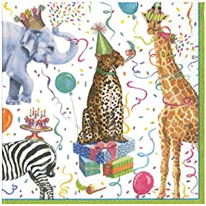 Caspari Party Animals Paper Luncheon Napkins - 20 Per Package