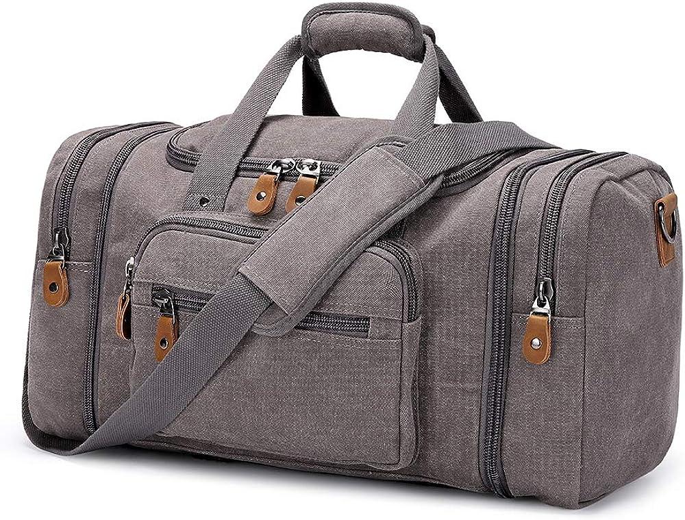 Plambag Canvas Duffle Bag for Travel 50L/60L Duffel Overnight Weekender Bag