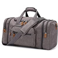 Plambag Canvas Duffle Bag for Travel, Oversized Duffel Overnight Weekend Bag(Grey)