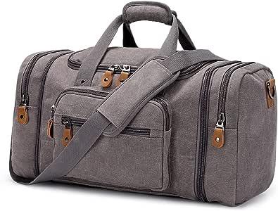 Plambag Canvas Duffle Bag for Travel, Duffel Overnight Weekend Bag(Grey)