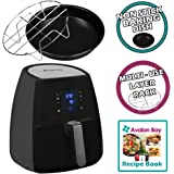 Avalon Bay Digital AirFryer with Rapid Air Circulation Technology, Large 3.2 Quart Capacity, Temperature up to 400 Degrees, Oil-Less Healthy Air Fryer, Black, AB-Airfryer220SS