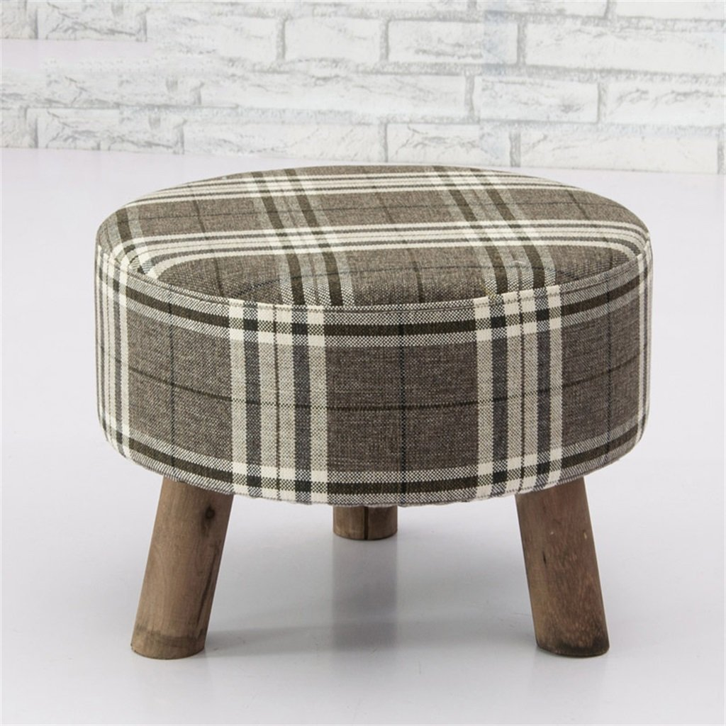 5  EU90 Solid Wood Change shoes Stool Round Footstool Test shoes StoolUpholsteFootstools 3 4 Wood Leg Pouffes Stool Fabric Cover Comfortable decoration (Size   2 )