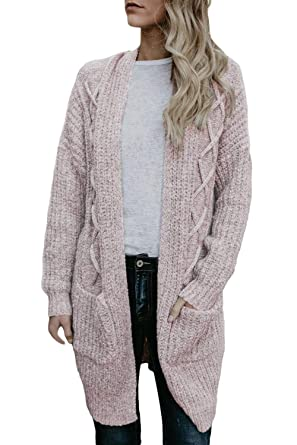 9bdf21c6cba5 KCatsy Womens Cardigan Sweater Coat Knitted Long Sleeve Ribbed Pockets  Solid Loose Casual Jumper Jacket at Amazon Women's Clothing store: