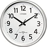 リズム時計工業(Rhythm) 掛け時計 シルバー Φ32x5.2cm CITIZEN シチズン 電波掛け時計 連続秒針 オフィス 8MY475-019