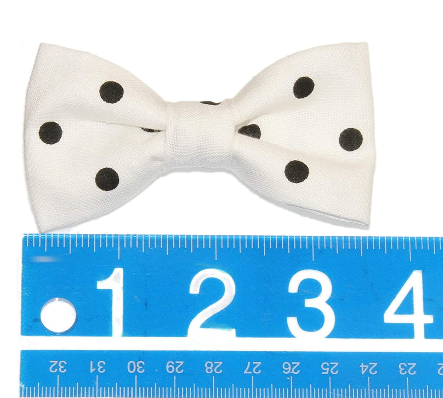 Toddler Boy 4T 5T White//Black Polka Dots Clip On Cotton Bow Tie Bowtie