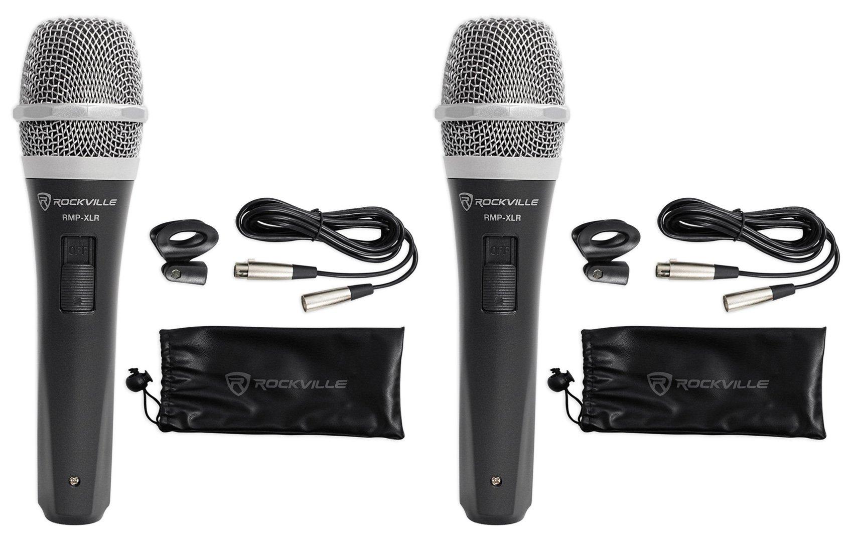 2 Rockville RMP-XLR Dynamic Cardioid Pro Microphones + 10' XLR Cables+2 Clips by Rockville