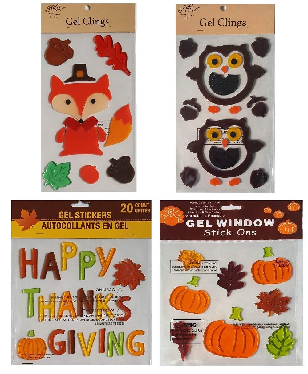 Fall and Thanksgiving Decorative Window Gel Clings - Woodland Fox and Owls, Acorns, Fall Leaves, Pumpkins, Happy Thanksgiving, and More – Bundle of 4 Sheets Mixed
