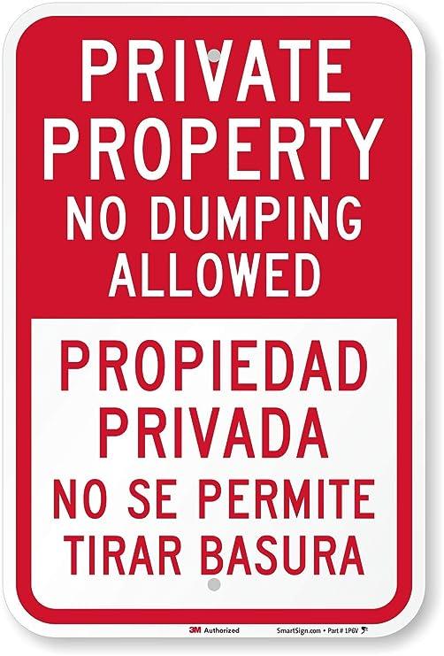 Propiedad Privada sin Dumping permitido (bilingüe) cartel ...