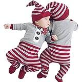Xinantime - Mamelucos del bebé recién nacido de la Navidad Mono + Sombrero 2 piezas conjunto de ropa de equipo (6-12 meses, Gris)