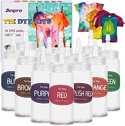 Anpro 160 PCS Tie Dye Kit,14 Colores Tintes Textiles Brillantes Tie Dye,100 ML * 14 Botella, Adecuado para Arte de Bricolaje Tie-Dye para Niños y ...