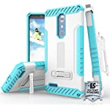 ZTE ZMAX Pro Case, ZTE Carry Z981 Case, ZTE Blade X Max Case, TJS Dual Layer Hybrid Shock Absorbing Card Slot Metal Kickstand Case with 360 Belt Clip Holster (Blue/White)