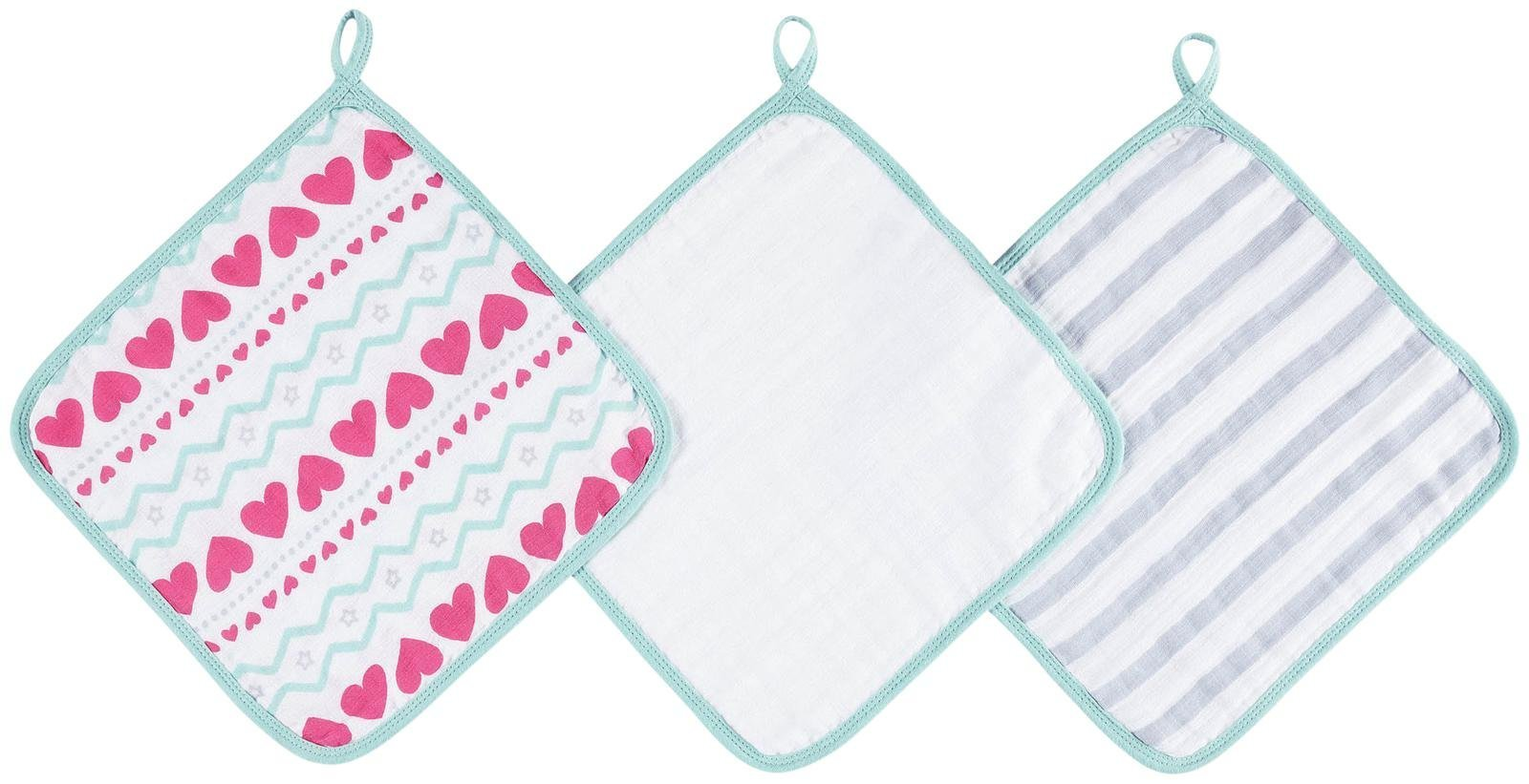aden by aden + anais washcloth set 3 pack, light hearted by Aden