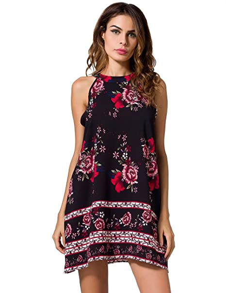 55b6a00f40c6 Image Unavailable. Image not available for. Color  Women s Halter Neck Boho  Floral Print Sexy Dresses Sleeveless Comfortable Mini Dress Loose Tops