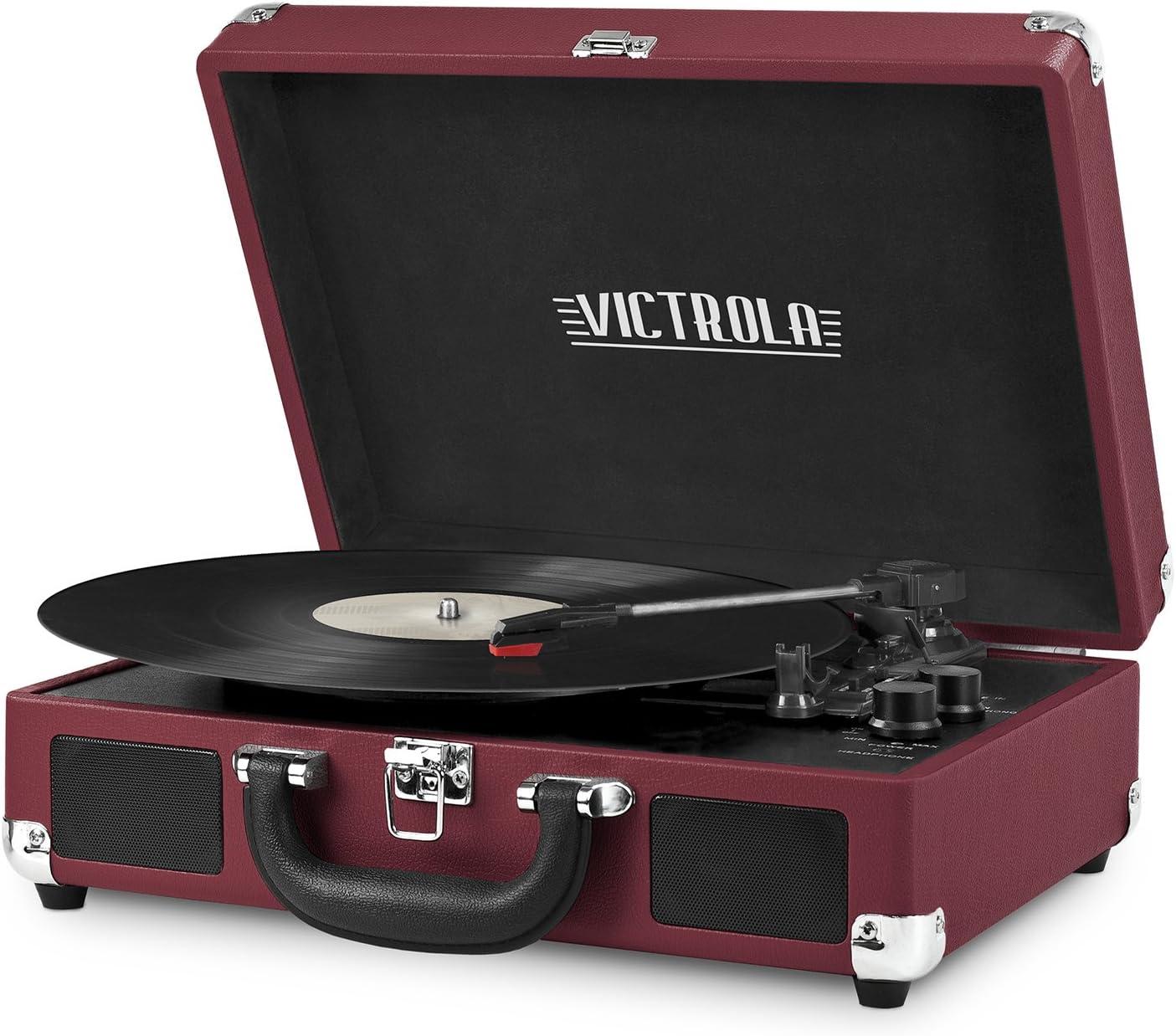 Victrola Vintage 3-Speed Bluetooth Suitcase Turntable with Speakers, Marsala