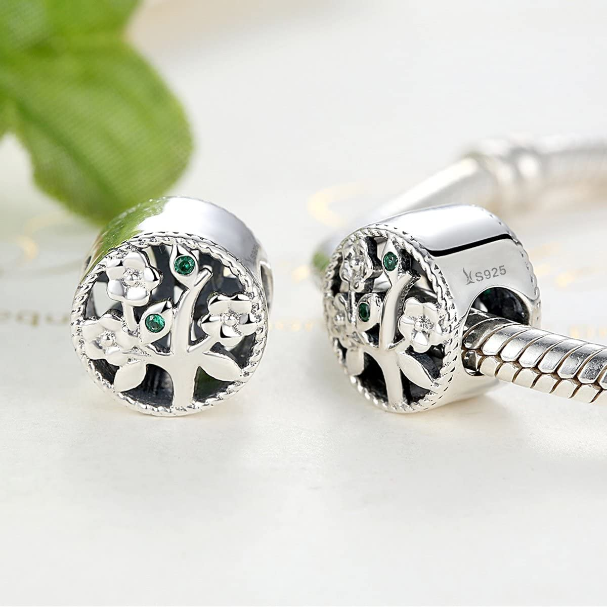 NINGAN Genuine Life Tree 925 Sterling Silver Bead Charms Fits European Bracelets Compatible