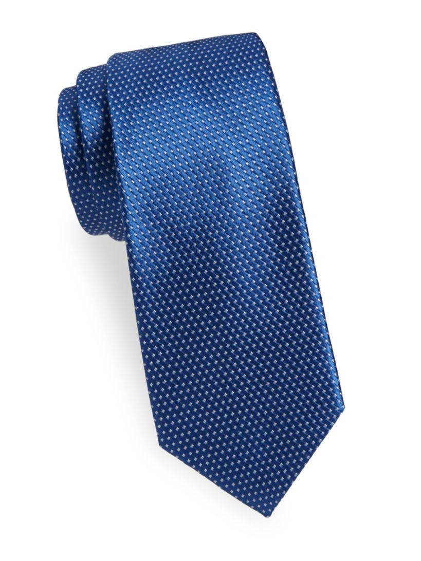 Yves Saint Laurent Men's Geometric Neat Silk Tie, OS, Blue