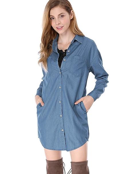 Allegra K Vestido De Camisa Suelto Cierre De Botón Mangas Largas Caída del Hombro para Mujer