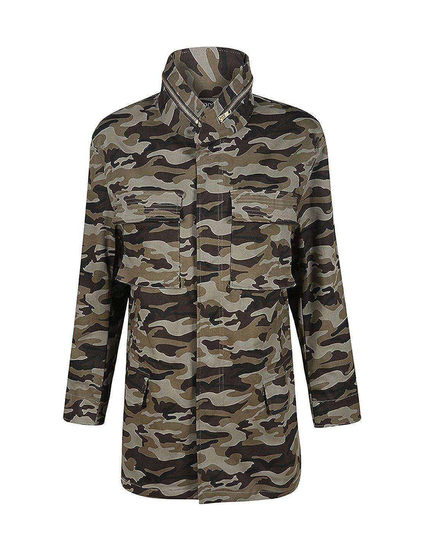 IRISIE Women Military Camo Lightweight Long Sleeve Camouflage Jacket Coat