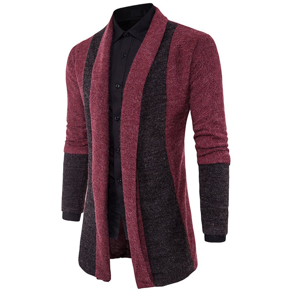 NiuZi Mens Slim Fit Open Front Shawl Collar Cardigans Long Sweaters