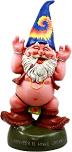 "Ebros Free Spirited Pot Smoking Hippie Garden Gnome Statue Patio Outdoor Poolside Figurine 13.5""H Carefree Peace Loving Ideals Happiness Is Home Grown!"