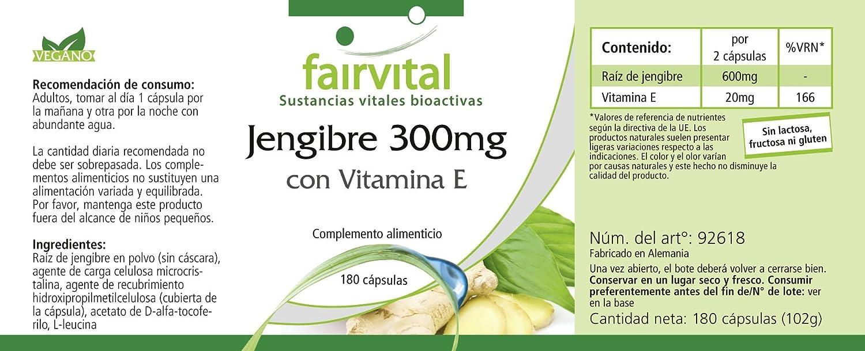 fairvital - 180 cápsulas vegetarianas de jengibre con vitamina E: Amazon.es: Salud y cuidado personal
