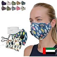 BEOLA Washable Face Mask Non Medical Reusable Cotton With Valve Filter Reusable (Anna 2pcs)